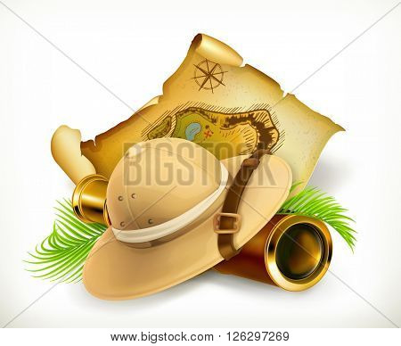 Pith helmet. Treasure map. Adventure vector icon