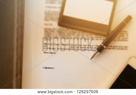 Blurred Business Letter Document With Pen And Blank Area For Text Signature, Job Well Done, Admire L