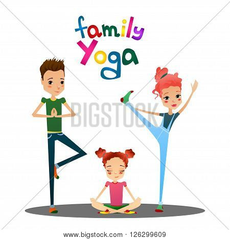 Cute Isolated Vector Cartoon Family Yoga Illustration with Cartoon Family Characters Like Mother Father and Daughter Doing Yoga Asanas Suitable for Book or Yoga Place Illustrating and Web Designing