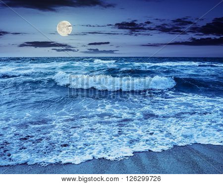 Sea ??waves Crashing On Sandy Beach At Night