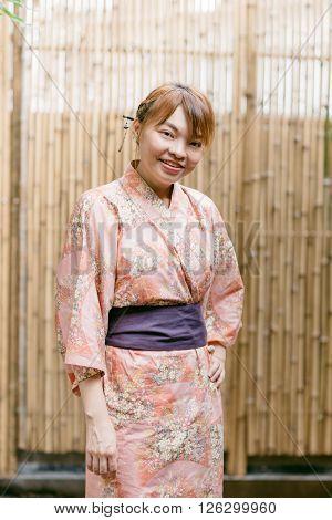 Lifestyle series : Asian woman wearing yukata in Asian garden