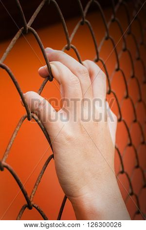 Women Hand Catching Iron Bar On Orange Background, Imprison Feeling