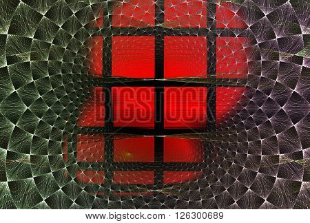 Abstract fractal background of lattices and curves red / green /violet for art projects