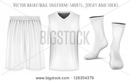 Basketball uniform: shorts, jersey and socks. Fully editable handmade mesh. Vector illustration.