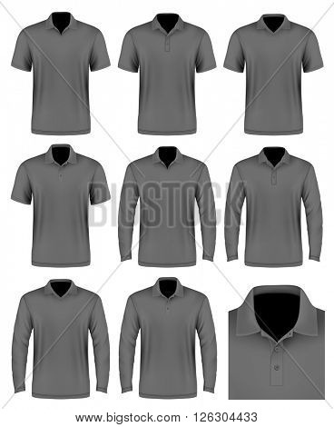 Collection of men's polo shirt. Polo-collars variants. Vector illustration. Fully editable handmade mesh.