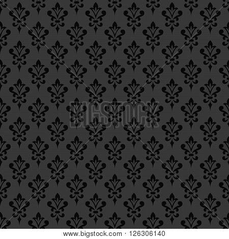 Black damask wallpaper. Background in Victorian style. Elegant vintage ornament in monochrome colors. Vector seamless pattern.