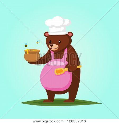 Cute cartoon Bear with Honey Vector illustration esp10