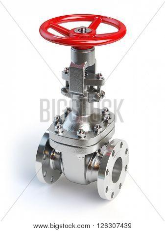 Gas pipeline valve isolated on white. 3d illustration