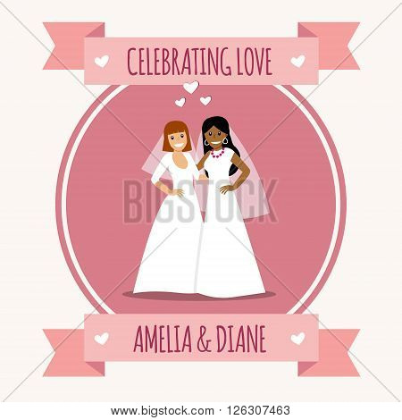 Beautiful female gay couple in wedding dress. Two young women getting married. Same-sex family. Vector art, cartoon style. Concept for same-sex family, human rights, lgbt community, lifestyle. Love wins. Gay marriage.