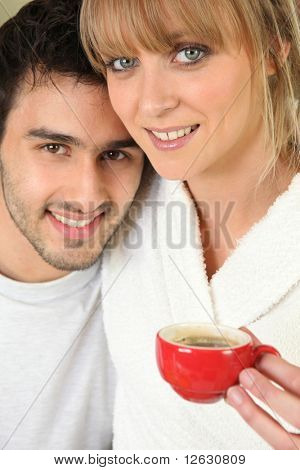 Portrait of a couple at breakfast