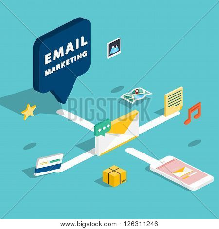 E-mail Marketing Concepts. Mobile Marketing, Email Advertising, Building Audience, Direct Digital Ma