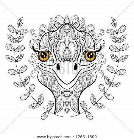 Vector ostrich for adult coloring page. Hand drawn funny ostrich head in floral frame for t-shirt print in zentangle style, tattoo design, ornamental animal logo. Patterned doodle with smiled ostrich face.