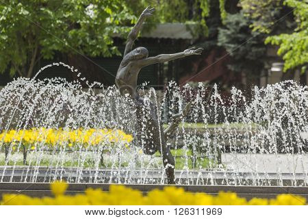 Fountain near Bulgaria's national theatr in Sofia