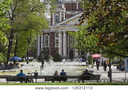 Sofia, Bulgaria - April 14, 2016 - Ivan Vazov National Theatre Is Bulgaria's National Theatre, The O