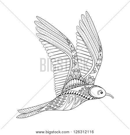 Vector Seagull. Zentangle Common Gull illustration, flying bird gull for adult anti stress coloring page. Hand drawn artistically ornamental patterned decorative animal for tattoo, boho design