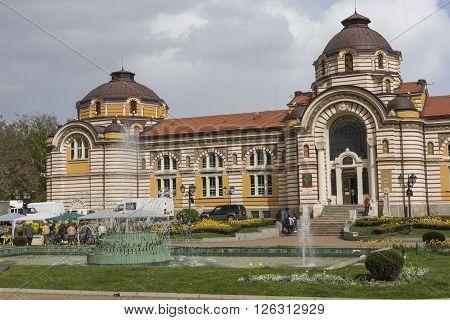 SOFIA BULGARIA - APRIL 14: Central public mineral bath house in Sofia Bulgaria On April 14 2016