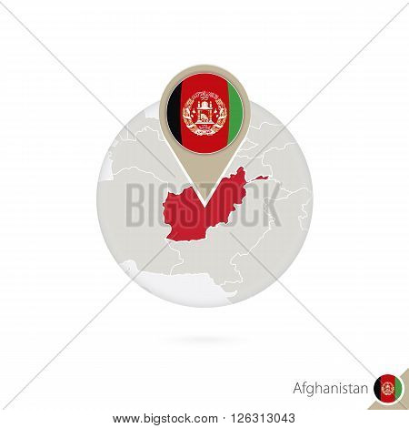 Afghanistan Map And Flag In Circle. Map Of Afghanistan, Afghanistan Flag Pin. Map Of Afghanistan In