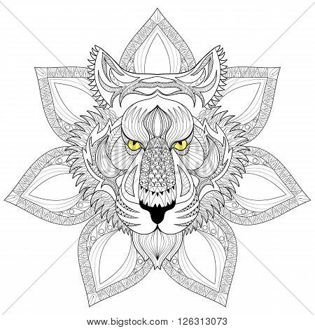Vector Tiger. Zentangle Tiger face on mandala illustration, Tiger head print for adult anti stress coloring page. Hand drawn artistically ornamental patterned decorative animal for tattoo, boho design