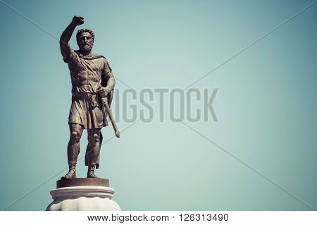 Statue of Filip II father of Alexander the Great monument. Skopje Macedonia poster