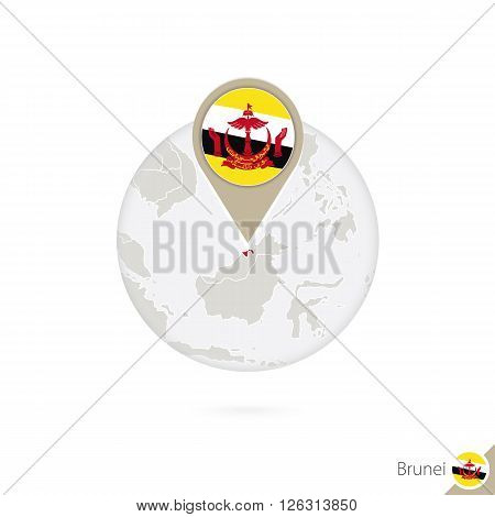 Brunei Map And Flag In Circle. Map Of Brunei, Brunei Flag Pin. Map Of Brunei In The Style Of The Glo