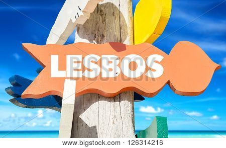 Lesbos signpost with beach background