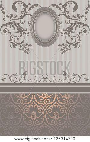 Decorative background with elegant patterns and vintage frame.