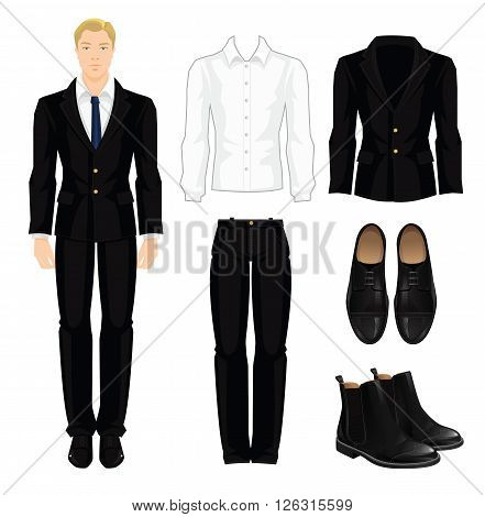 Vector illustration of corporate dress code. Office uniform. Clothes for  business man. Business fbe30cbe3