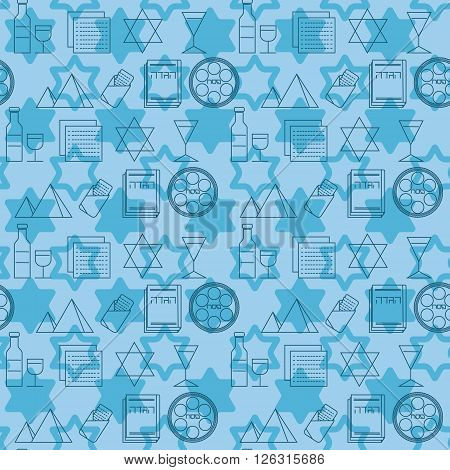 Passover seamless pattern background. Jewish holiday Passover symbols. Blue background. Vector illustration