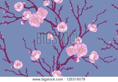 Seamless vector floral pattern. Illustration sakura branch in Victorian style. Vintage luxury decoration of sakura branch. Series flower design in unique technique. Sakura branch on gray background.