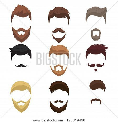 Set of men cartoon hairstyles with beards and moustache. Collection of fashionable stylish hairstyles and beards. Vector illustration with isolated hipsters hairstyles on a white background.