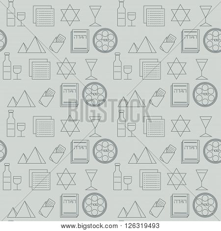 Passover seamless pattern background. Jewish holiday Passover symbols. Gray background. Vector illustration
