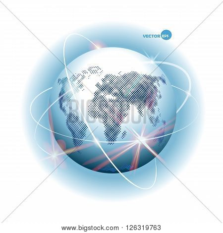 Globe with design of ways - Internet communication mobile communication sputnik road air way. Planet Earth with continents and sea and world Ocean atmosphere. Space cosmos view.