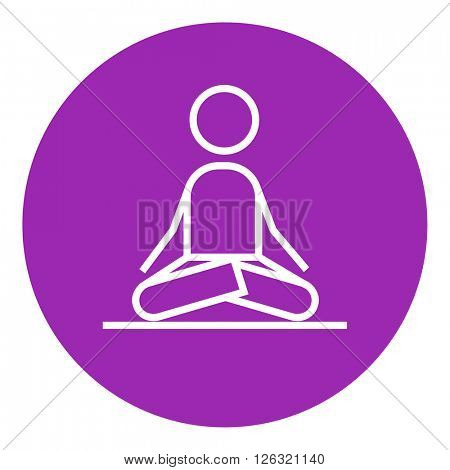 Man meditating in lotus pose line icon.