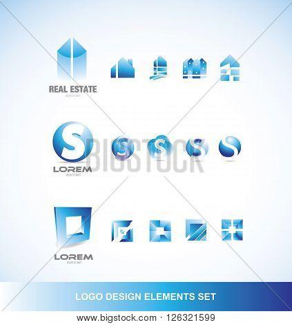 Logo design elements icon set blue real estate letter square sphere