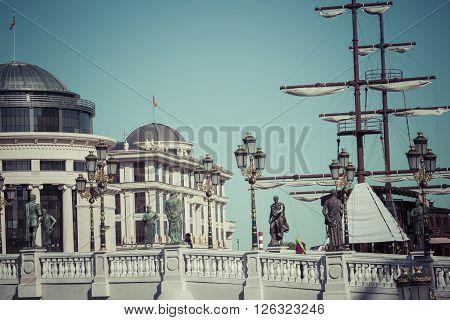 SKOPJE MACEDONIA APRIL 16 2016: National archaeological museum part of Skopje Eye Bridge and the ship