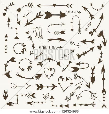 Large bundle of sketch hand-painted doodle arrows in old style