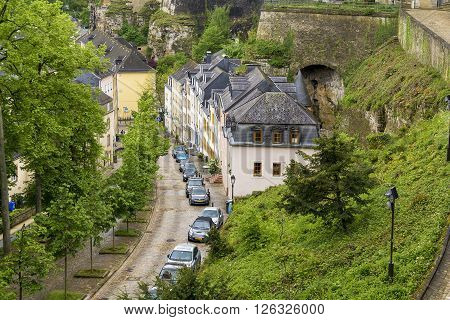 Luxembourg, Luxembourg - May 15: This is part of town is located outside the old city walls on the way down to the Alzette river May 15, 2013 in Luxembourg, Luxembourg.