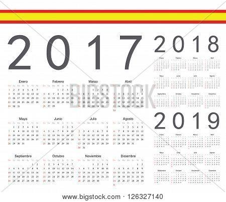Set Of Spanish 2017, 2018, 2019 Year Vector Calendars