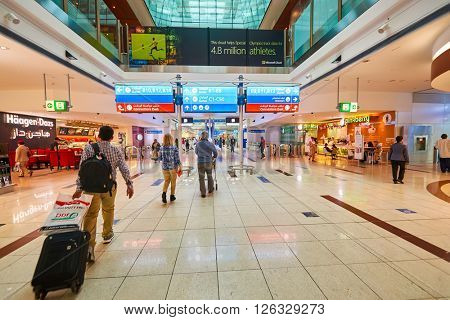 DUBAI - MARCH 09, 2016: inside of Dubai International Airport. Dubai International Airport is the primary airport serving Dubai, United Arab Emirates.