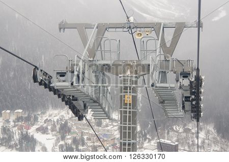 Dombay, Russia - 7 February 2015: Support A Monorail Ropeway At Ski Resort Dombay