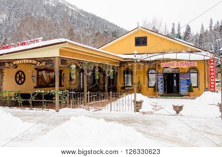 "Dombay, Russia - 7 February 2015: Cafe ""alibek"", Located In The Small Town Of Dombay"