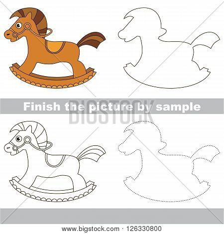 Drawing worksheet for children. Finish the picture and draw the cute Rocking horse