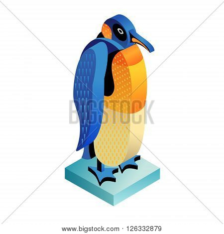 Bird penguin. Illustration isometric icon. The vector image of the animal in the original unusual style isolated on white background.