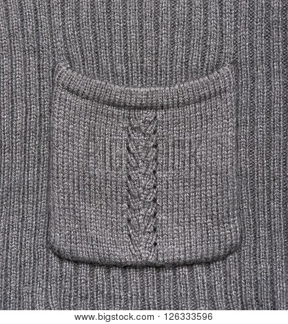 grey knitted wool pocket macro photo, texture background