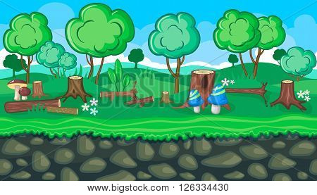 Seamless horizontal summer felling background with logs and stubs for video game