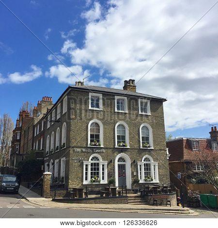 LONDON - APRIL 19: The Wells Tavern on April 19, 2016 in Hampstead, London, UK.