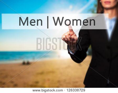 Men Women - Businesswoman Hand Pressing Button On Touch Screen Interface.