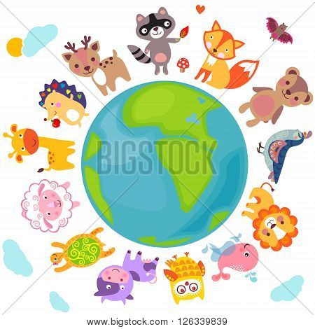 Cute animals walking around globe Save animals emblem animal planet animals world.