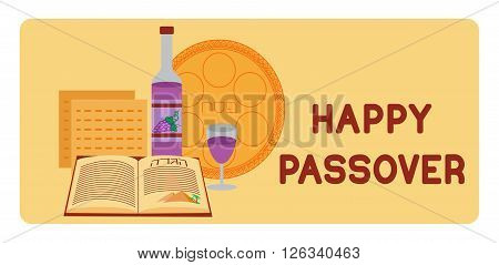 Passover background. Happy Passover. Jewish holiday Pesach background. Passover symbols. Vector illustration