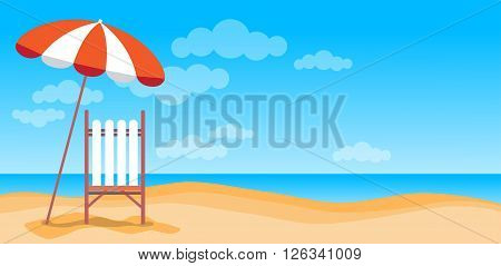 Summer Beach Vacation Sunbed With Umbrella Sand Tropical Banner Copy Space Flat Vector Illustration